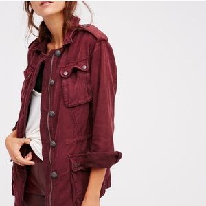 Free People Button Military Jacket in Wine FP91